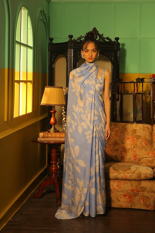 Sky Blue And White Floral Saree