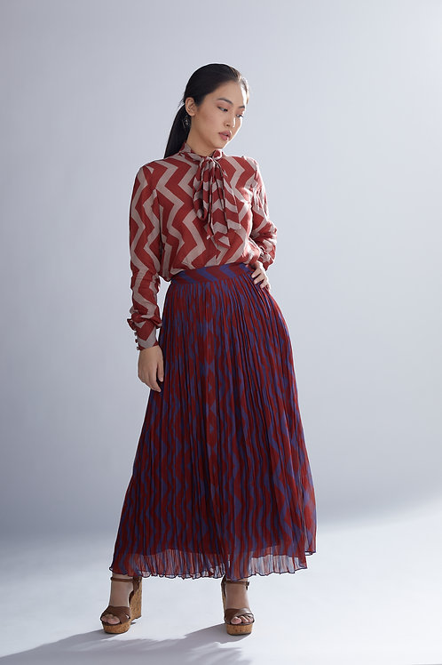 Dabu Zig Zag Red And Blue Pleated Skirt