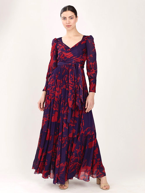 Purple And Red Floral Long Wrap Dress