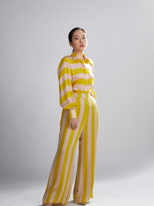 Pink And Mustard Stripe Pants