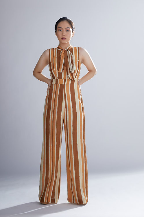 Brown, Rust And Cream Sleeveless Jumpsuit