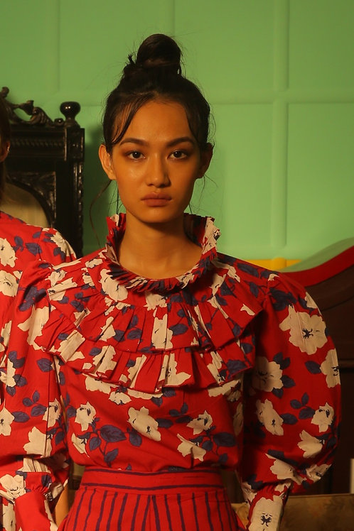 Red, Blue And White Floral Frill Collar Shirt