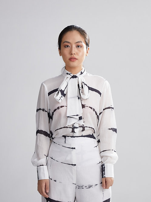 White And Black Shibori Shirt