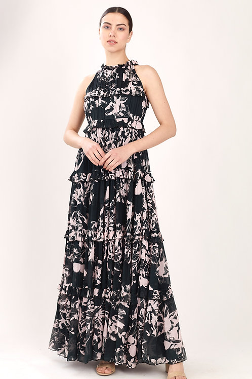 Dark Green And Pink Floral Frill Dress