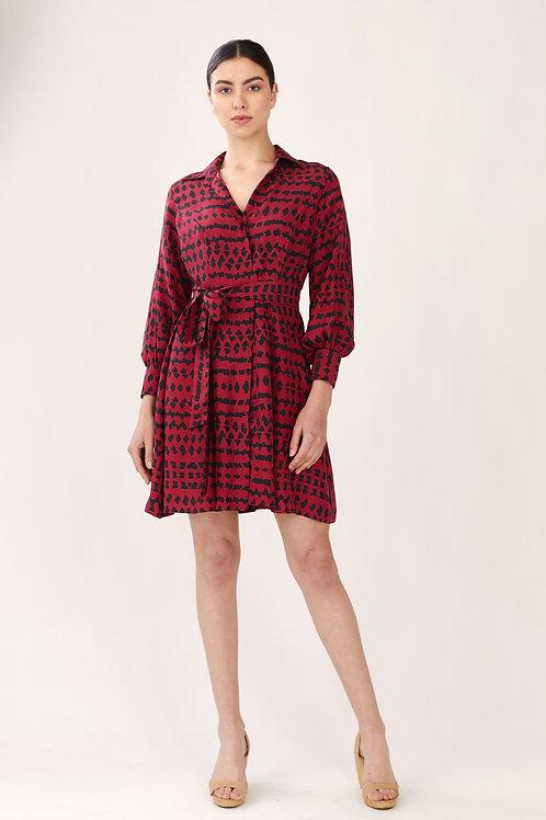 Black And Dark Pink Abstract Print Long Shirt Dress