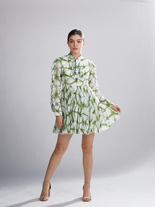 Cream And Green Shibori Frill Dress