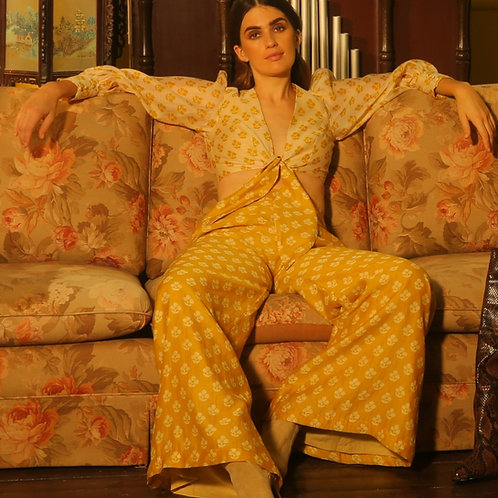 Yellow With Cream Flower Pants
