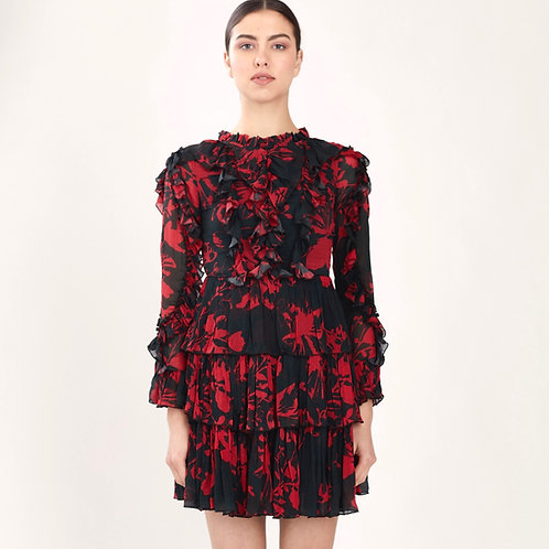 Black And Red Floral Frill Short Dress