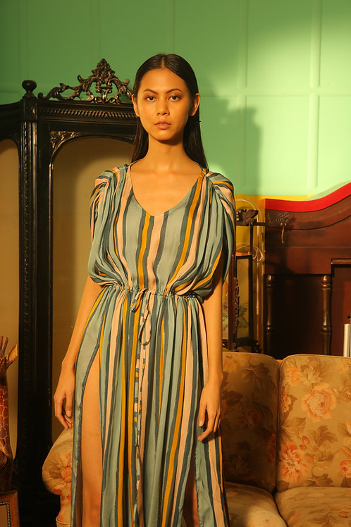 Blue, Pink And Yellow Striped Kaftan