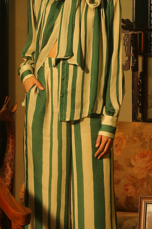 Green And Beige Stripe Pants