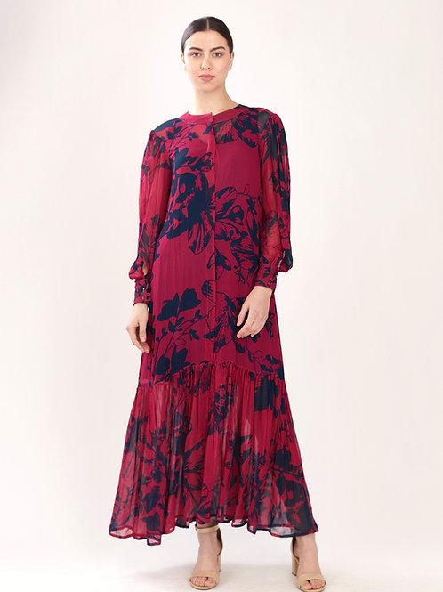 Dark Pink Floral Frill Dress