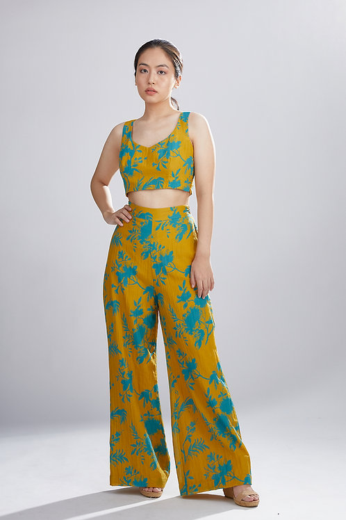 Mustard And Blue Floral Pants