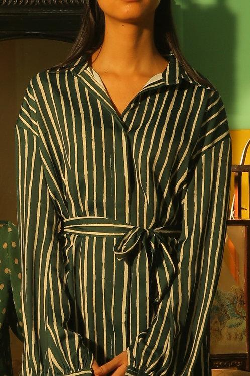 Dark Green And White Stripe Long Shirt