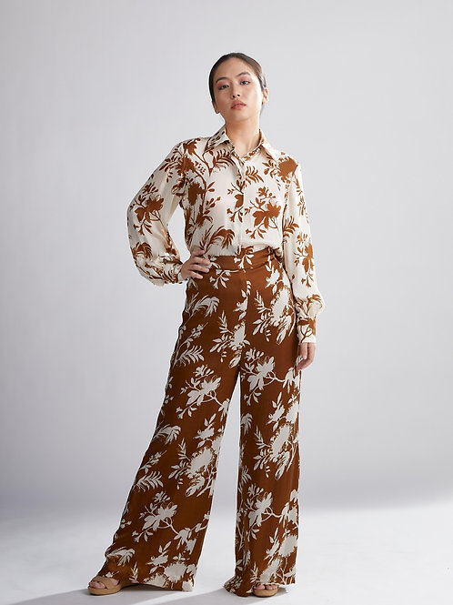 Brown And Cream Floral Pants