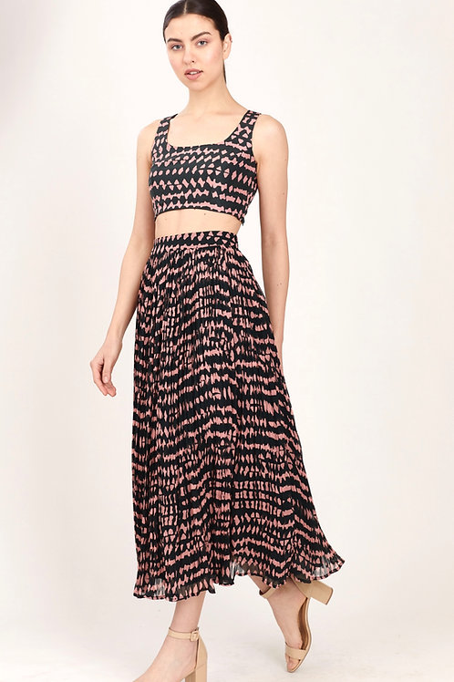 Dark Green And Pink Abstract Pleated Skirt