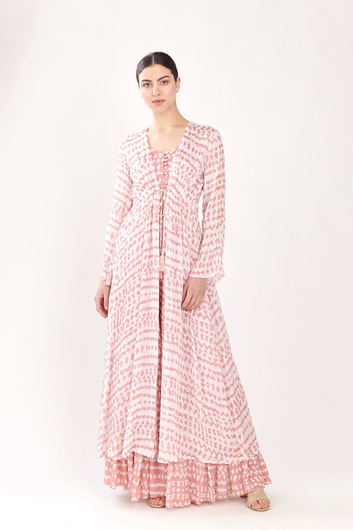 Pink And White Abstract Kaftan Cape