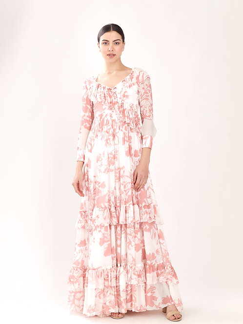 White And Pink Floral Frill Long Dress