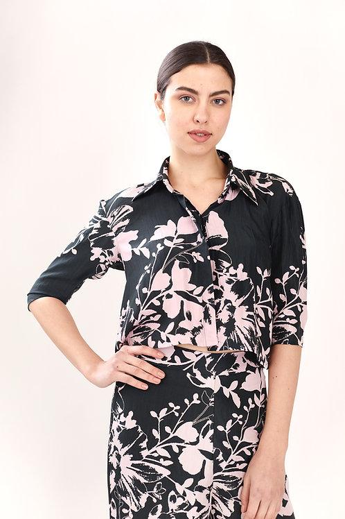 Dark Green And Pink Floral Crop Shirt