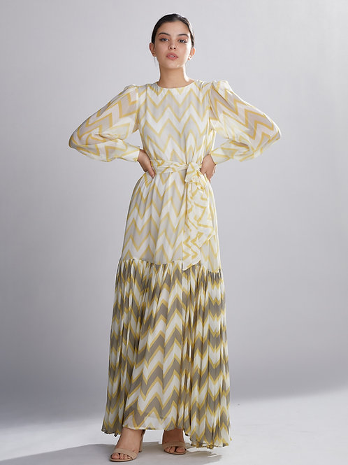 Grey, Yellow And Cream Zig Zag Long Dress