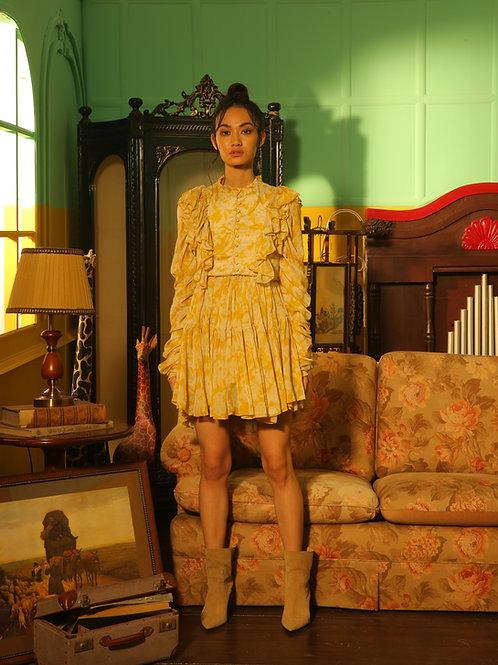 Yellow Floral Short Dress