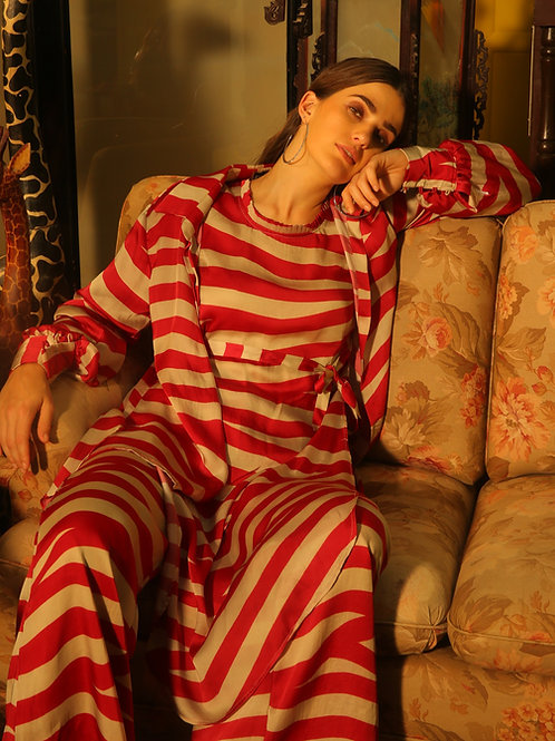 Red And Beige Stripe Pants
