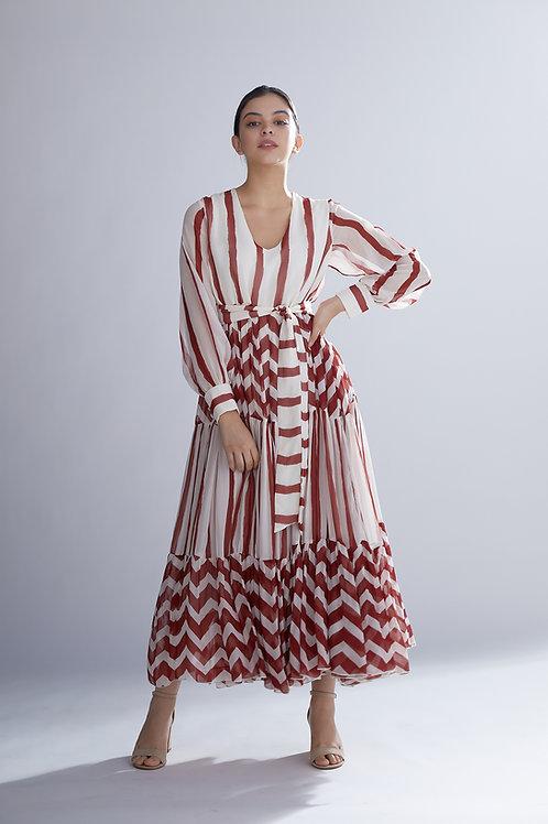 White And Red Stripes Dabu Dress
