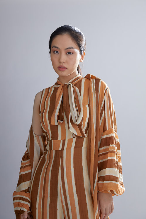 Brown, Rust And Cream Oversized Shirt