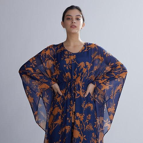 Blue And Orange Floral Kaftan