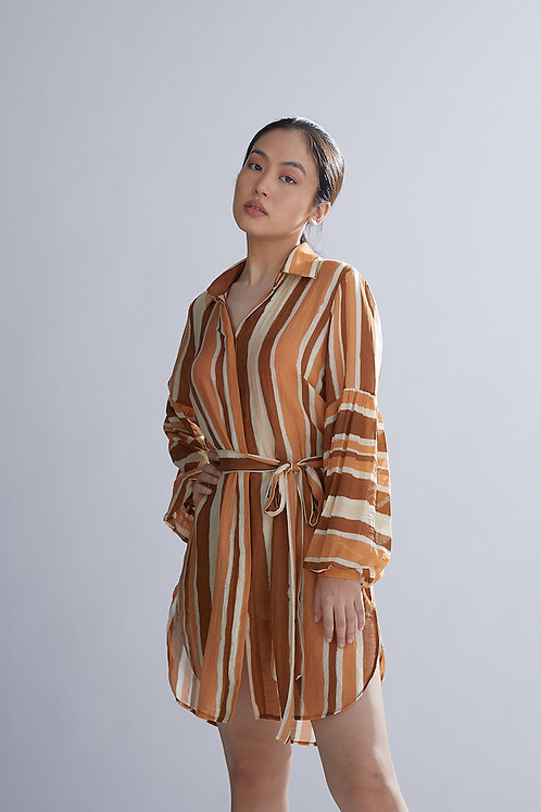 Brown, Rust And Cream Shirt Dress