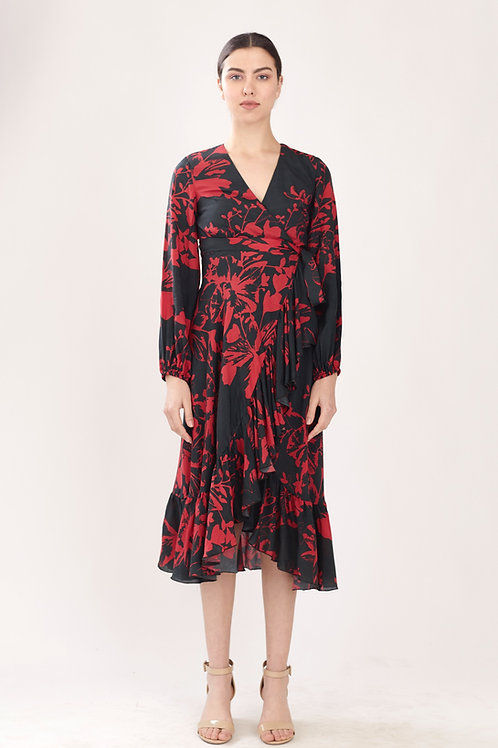 Dark Green And Red Floral Wrap Dress