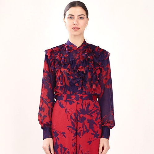 Purple And Red Floral Frill Top