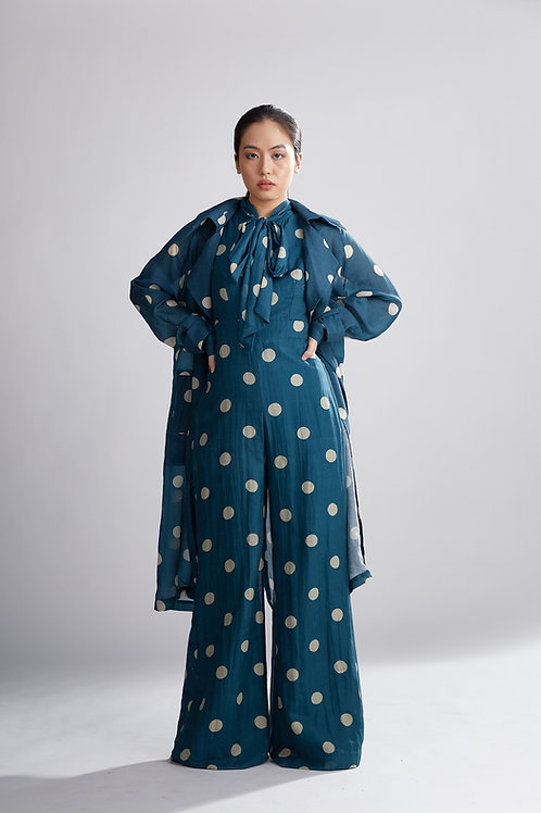 Teal And Cream Polka Dot Trench Cover
