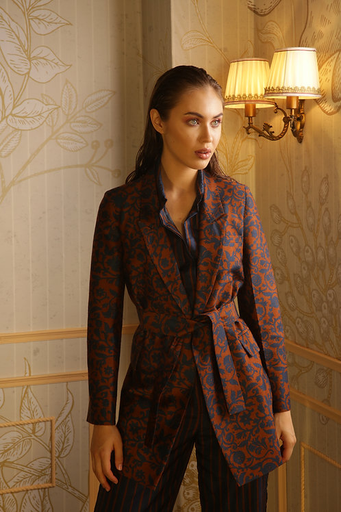 Brown And Blue Floral Blazer