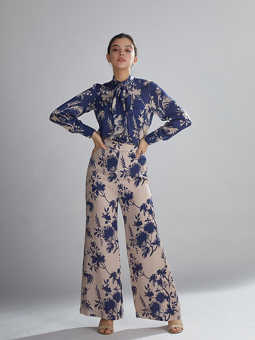 Peach And Blue Floral Pants