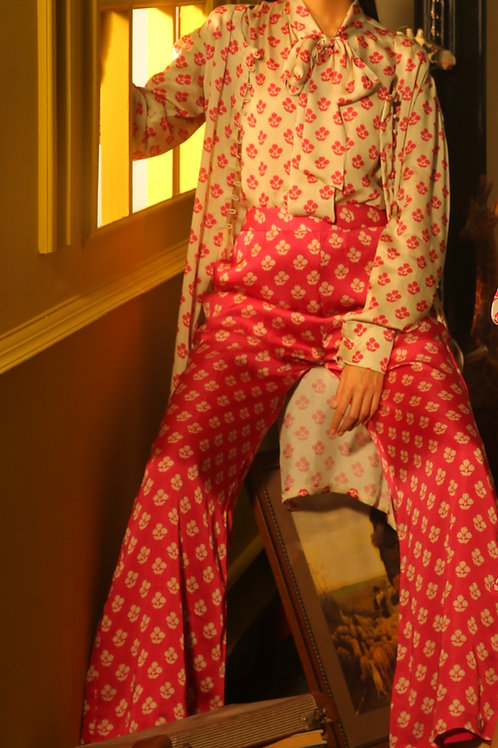 Pink And Beige Motif Pants