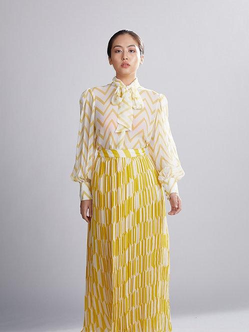 Cream And Yellow Geometric Crinkled Skirt