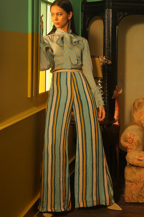 Pink, Yellow And Blue Striped Pants