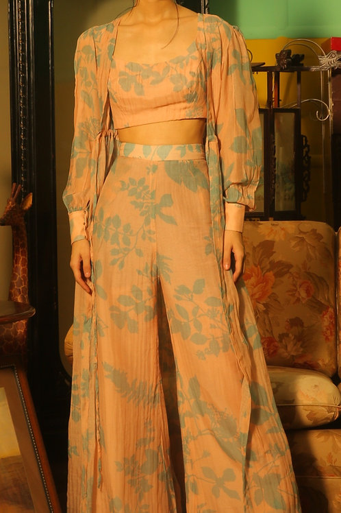 Cream And Teal Floral Pants