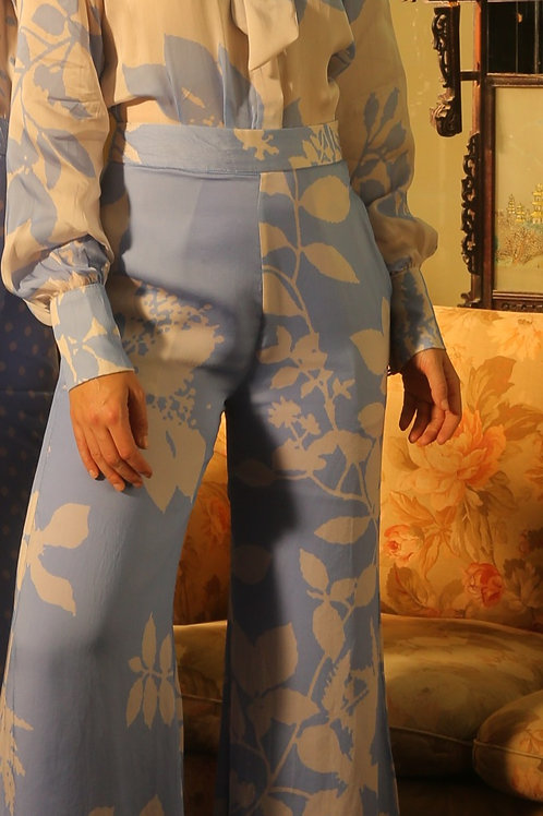 Blue And White Floral Pants