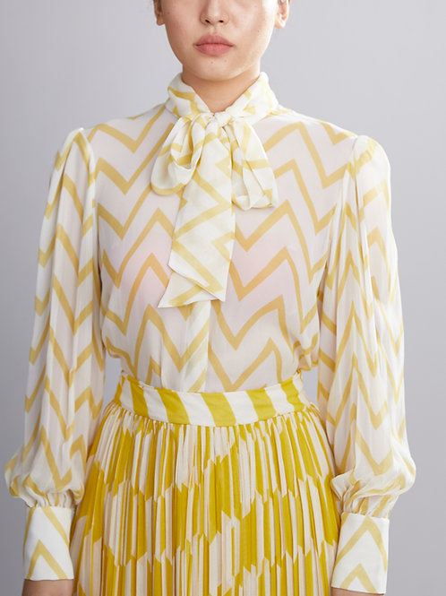 Cream And Yellow Zig Zag Bow Shirt