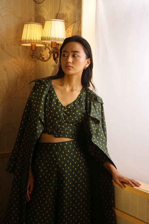Green With Yellow Polka Dot Trench Coat