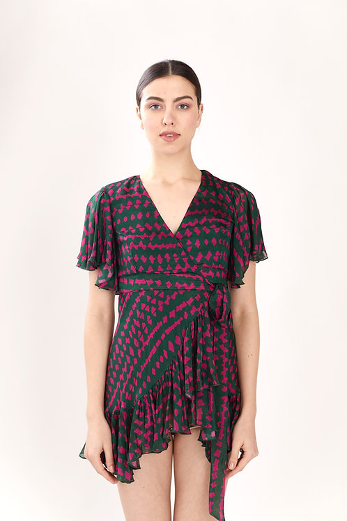 Green And Pink Abstract Wrap Dress