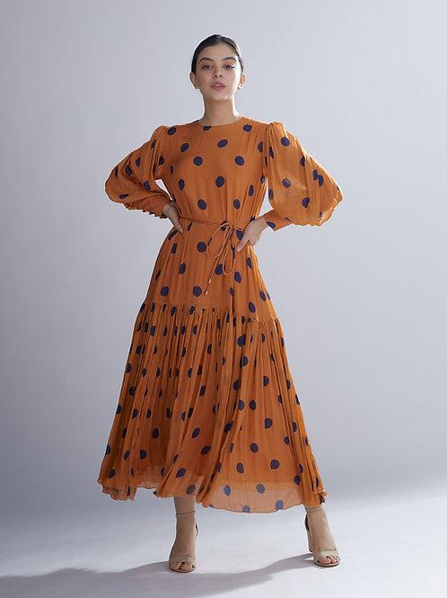 Orange And Blue Polka Long Dress