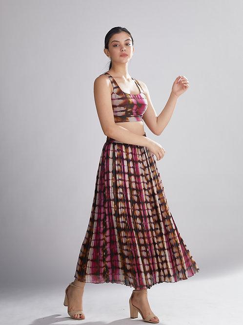 Multi Shaded Crinkled Skirt