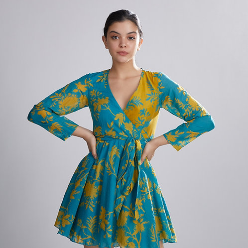 Blue And Mustard Dual Floral Wrap Dress