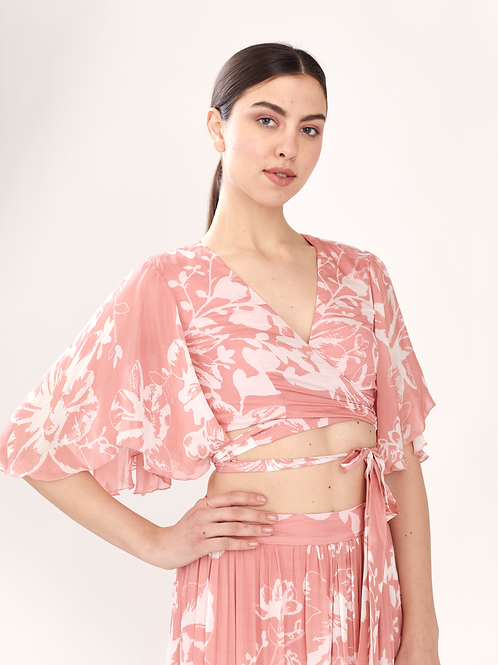 Pink And White Floral Wrap Top