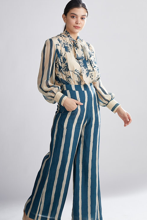 Teal And Cream Stripe Pants