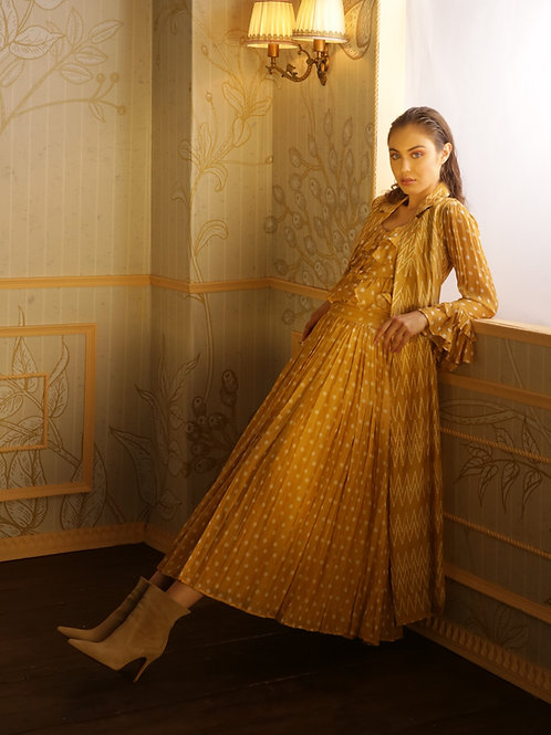 Mustard With White Polka Dot Pleated Skirt