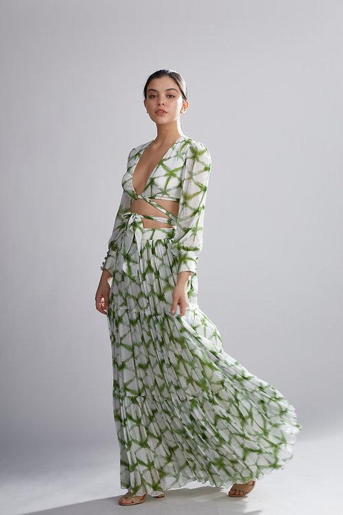 Cream And Green Shibori Skirt