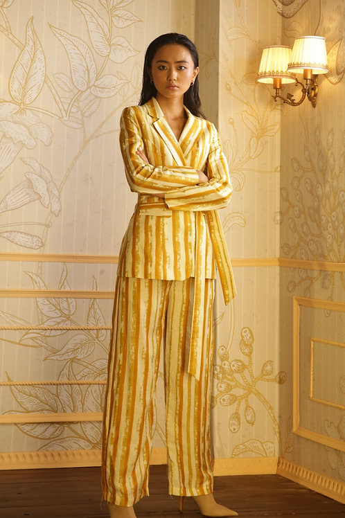 Yellow, Mustard And White Striped Pants